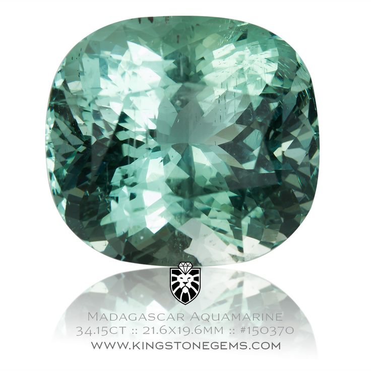 Madagascar Blue Green Aquamarine Cushion 34.15ct - 21.6X19.6X14mm - SKU# 150370 - An awesome natural aquamarine from our large collection of precious gemstones.