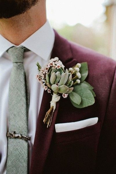 Deep Red and Succulents - Unique Groom Looks You'll Both Love - Photos