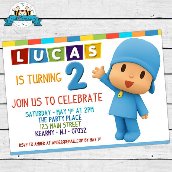 POCOYO Birthday Party Invitation - Invite Card - Personalized invitation. $9.95, via Etsy.