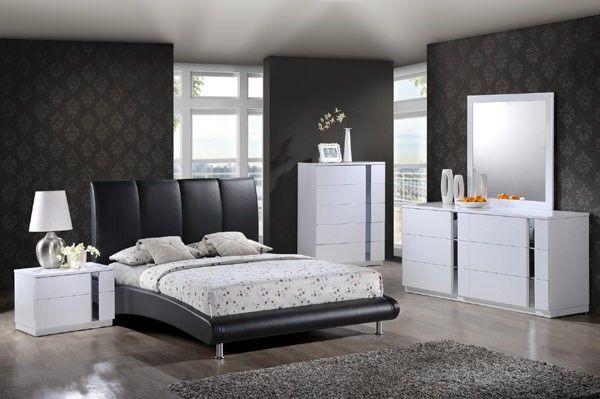 Global Furniture - Jody 4 Piece Eastern King Sleigh Bedroom Set in Black - 8272-BLK-EK-4SET