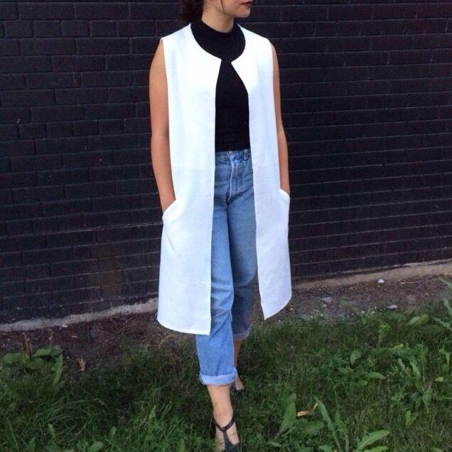 PUT YOUR VEST FOOT FORWARD // reconstructed long canvas vest
