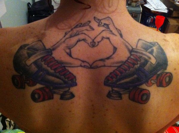 Because @Kirsten Wehrenberg-Klee Dart asked, here is the roller derby tattoo on my back. #susypow