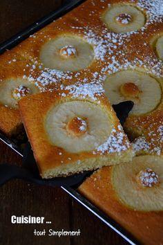 Un gâteau très simple à faire ... il vous suffit juste d'avoir une plaque à patisserie et le tour est joué!!! Ingrédients ( pour 6 personnes ) 200g de farine 150g de sucre en poudre 20cl de crème liquide entière 3 oeufs 2 pommes 1 sachet de levure chimique...