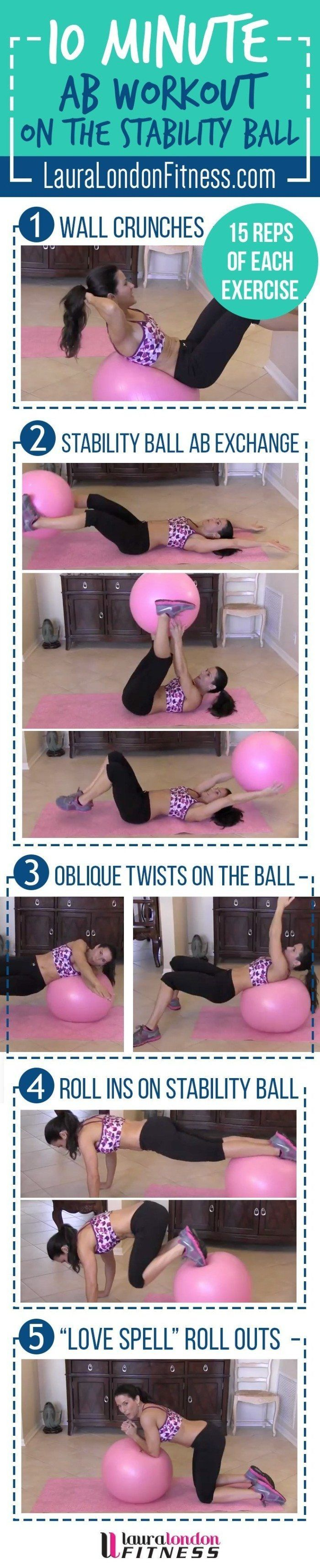10-Minute-Ab-Workout-on-the-Stability-Ball with Laura London via @fitfluential