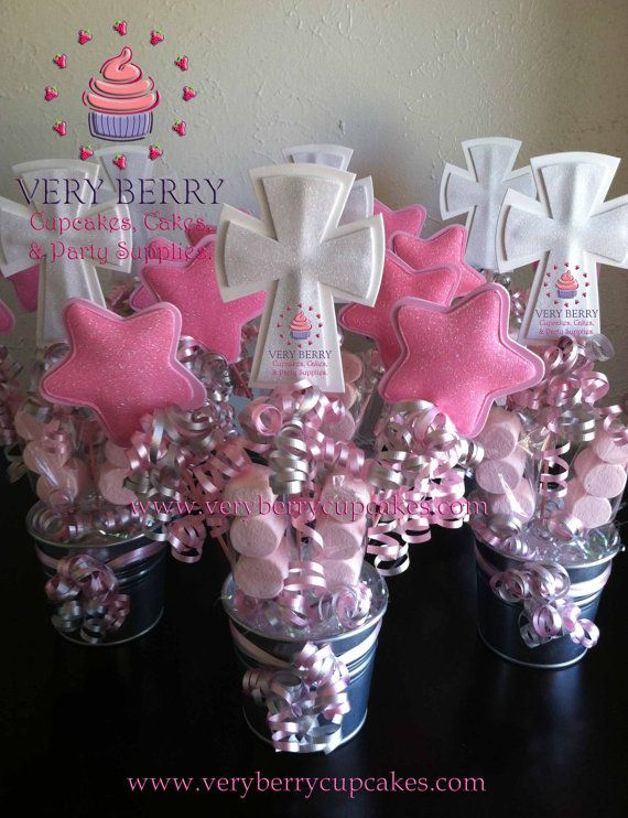 6 Girl Baptism Centerpieces By Veryberryparty On Etsy