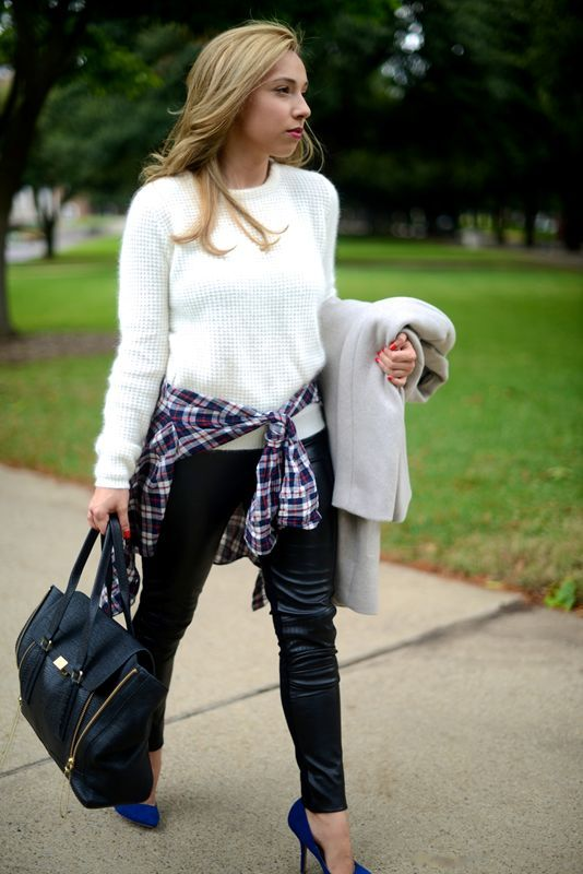 Best Street Style Looks Around Dallas: Rebecca, Winter Layers + Plaid The Girl: Rebecca Marin Job Title: SMU student and wedding/event producer En Route To: Thai dinner with friends in the Design District Wearing: Topshop coat, Zara sweater, J.Crew button-down, Bop Basic leggings, Zara heels, 3.1 Philip Lim Pashli bag
