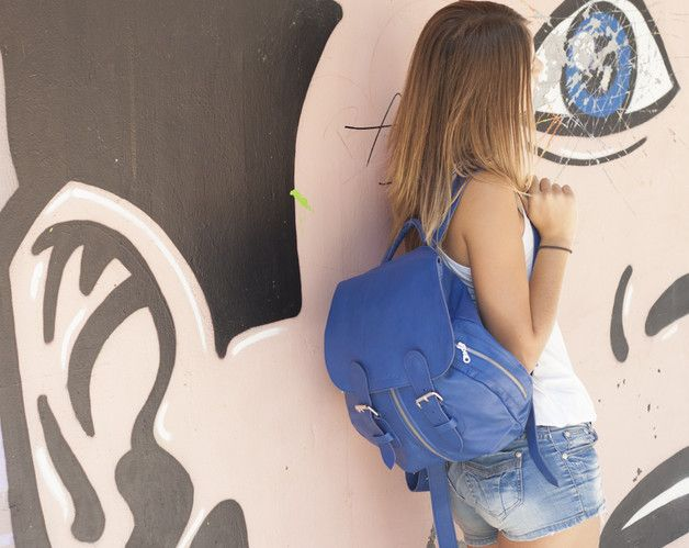 Backpacks – Artemis backpack - Royal Blue leather – a unique product by milloo…