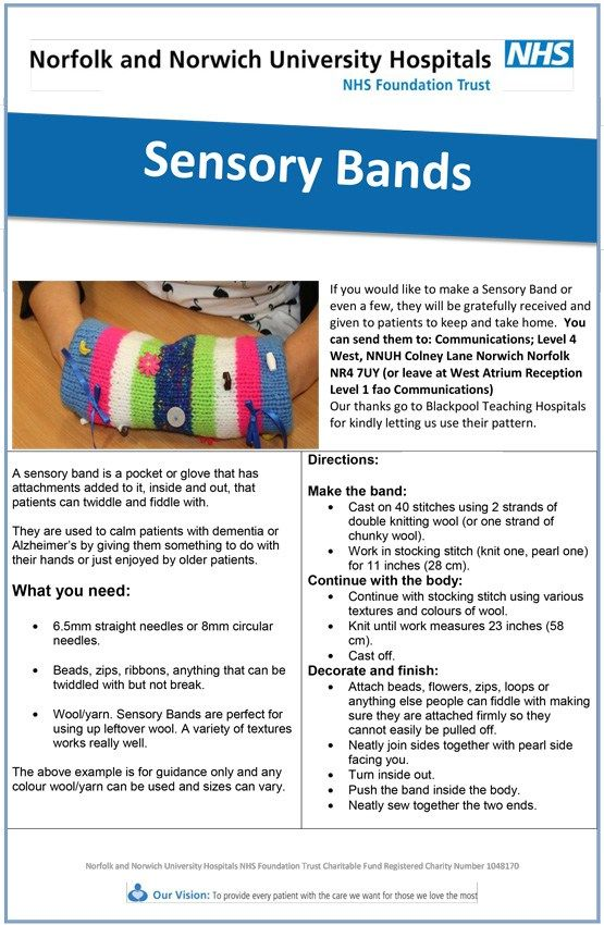 Sensory band for restless hands.