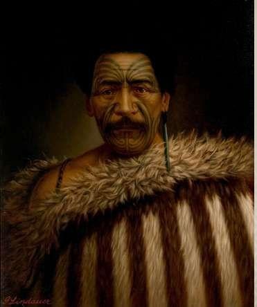 Tamati Pirimona Marino, oil on canvas, by G Lindauer. Auckland Art Gallery.