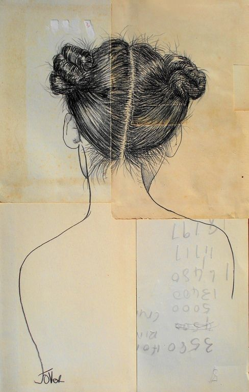 "Saatchi Online Artist: Loui Jover; Conté, 2013, Drawing ""sailing ships"" **the hair is very well done**"