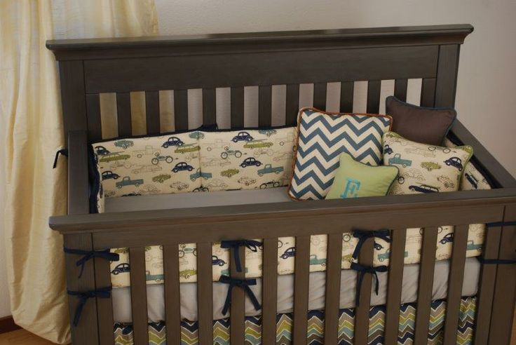 vintage chevron crib bedding 2