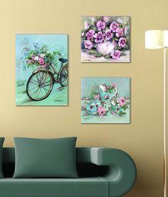 Nbsanat Dekoratif 3 lü Mdf Tablo Sepetli Bisiklet - evmanya.com