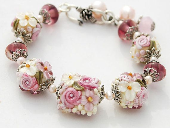 Pink Ivory Flowers Bracelet Lampwork Lavender by shalayneoriginals.    Wow......... just Wow!!!