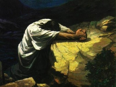 Jesus praying at Gethsemane the night Judas betrayed him