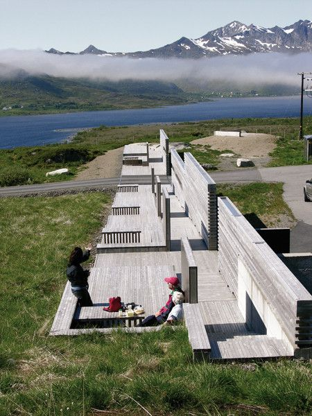 Built by 70ºN Arkitektur in Vestvågøy, Norway with date 2005. Images by Steinar Skaar. These projects are part of the National Tourist Routes, unique drives through the most spectacular countryside Norway...