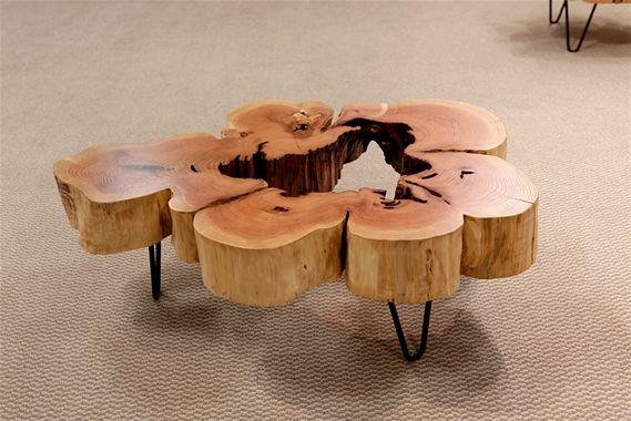 Urban Hardwoods Furniture - Seattle, cedar flare coffee table #UrbanHardwoods #SalvagedWood