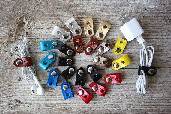 Kabel-Organizer, Leder iPhone Ohrhörer Lightning Ladegerät Kabel Halter Halter Organizer, wickeln Sie es und machen es