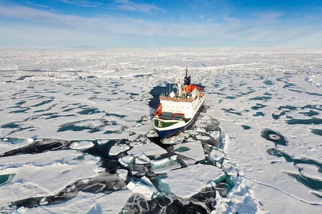 ICY NORTH. An aerial view of the research ship 'Polarstern' (North Pole.