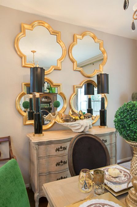 Gold quatrefoil mirrors - I've seen this mirror shape at Target & Walmart. Just spray paint them gold! Nice!