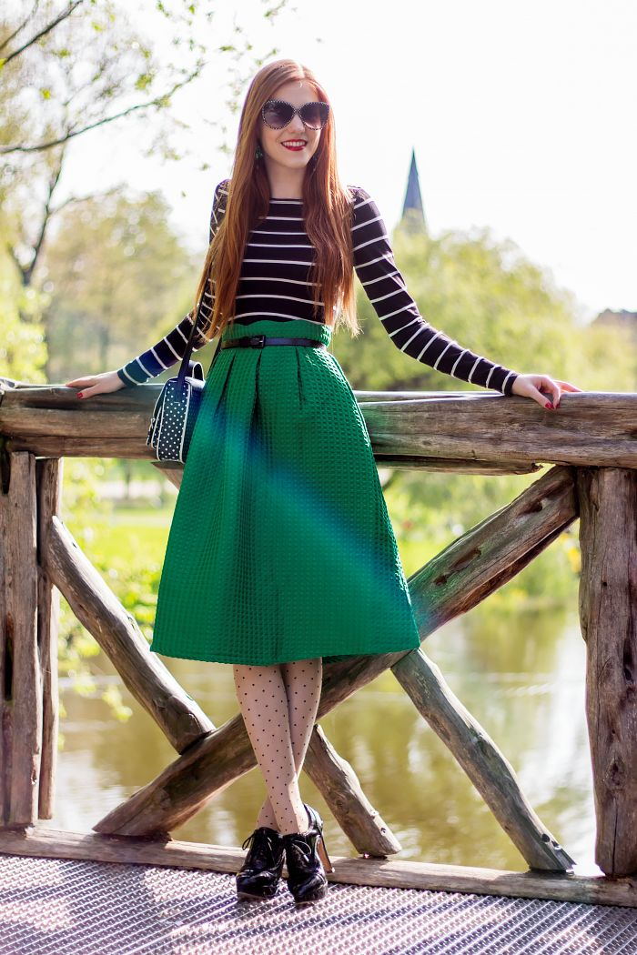 Amsterdam Fashion Blogger Outfit with stripes, dots and green midi skirt