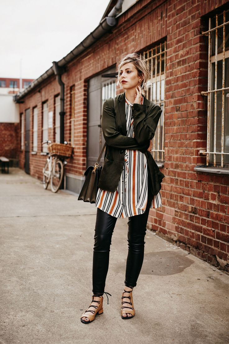 Striped long shirt+black leather pants+camel and black lace up ballerinas+olive green blazer+black and olive shoulder bag. Fall outfit 2016