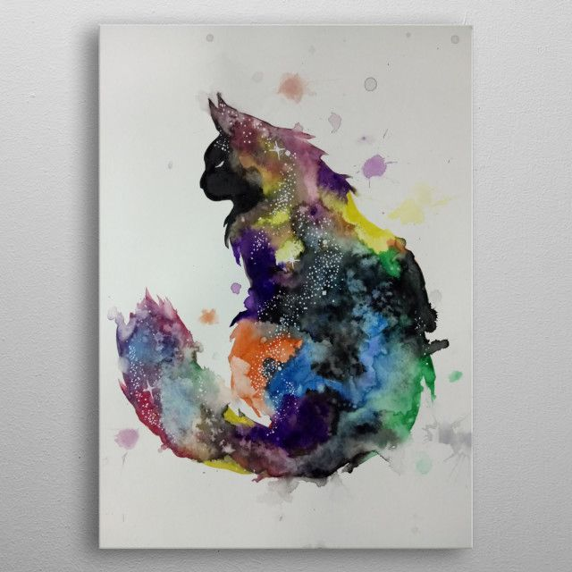 Cat Galaxy Watercolor Animals Poster Print Metal Posters In 2020