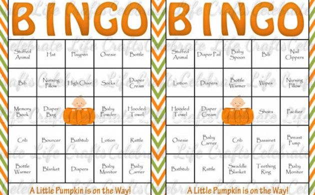 BabyZone: 16 Ideas for Planning a Fall Baby Shower   | Pumpkin Bingo!