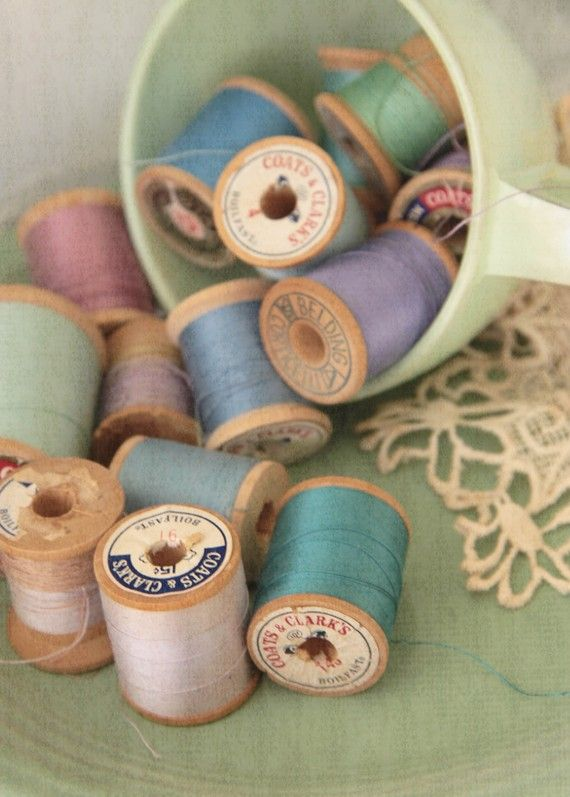 wooden spools of thread...