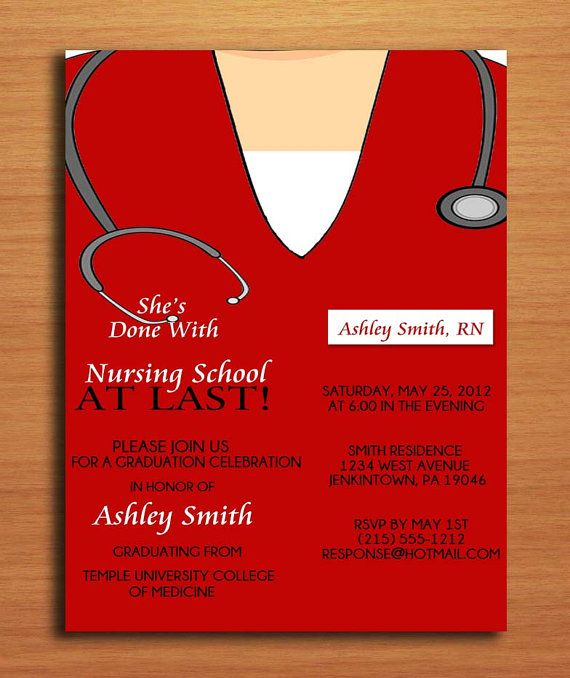 Scrub Top Nursing / Medical Degree Graduation Party Invitation Cards PRINTABLE DIY