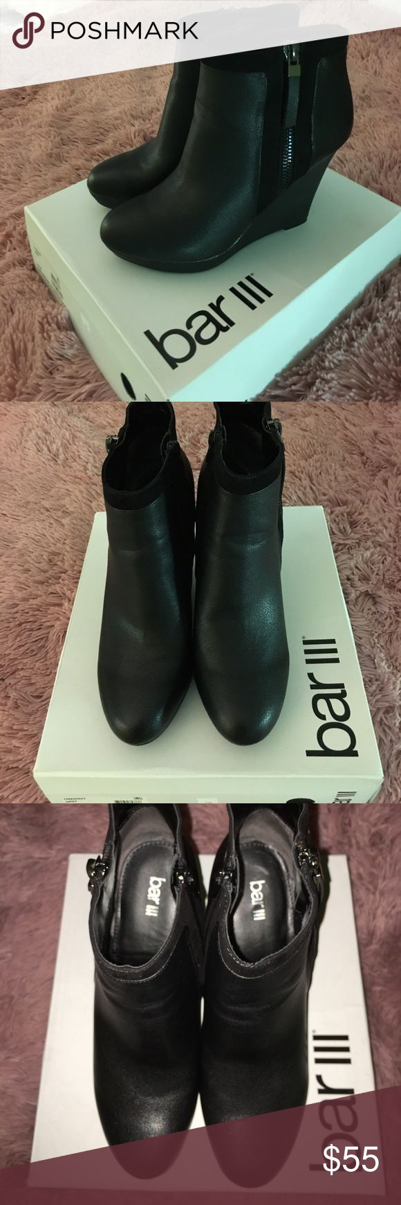 Bar lll black wedge ankle boots Brand new Size 9.5 black wedge zip up boots, bar lll Bar III Shoes Ankle Boots & Booties
