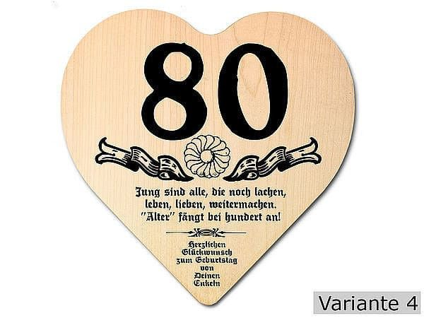 Geburtstagswunsche 80 Geburtstag Lustig Unique Herz Holzschild