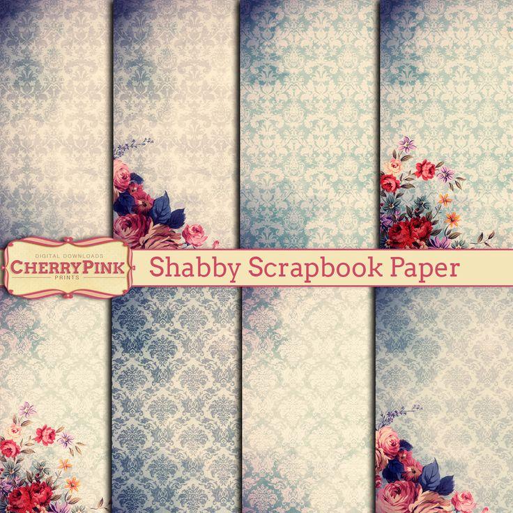 Shabby scrapbook paper - floral - damask - instant download