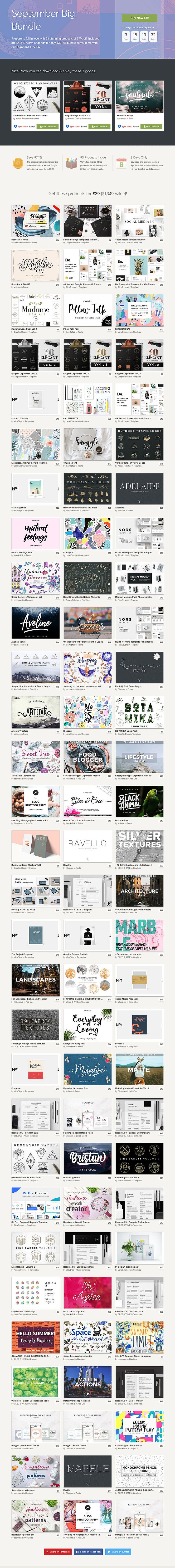 September Big Bundle :  Prepare to fall in love with 93 stunning #design products at 97% off. Included are $1,349 worth of goods for only $39! ( #fonts #wordpressthemes #creative #typography #texture #watercolor #braiding #logodesign #instagram #presentation #business #advertisement )