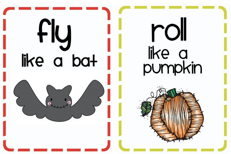 Download this H is for Halloween booklet and on pages 31-33 are 8 halloween movement cards