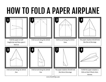 Kids can learn to fold a standard paper airplane by for Paper airplane templates for distance