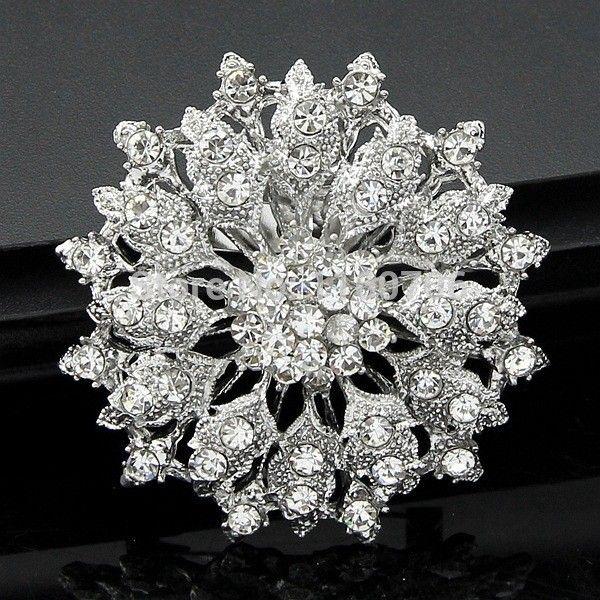 Star-Jewelry-Shining-Beautiful-Silver-Clear-Rhinestone-Crystal-Small-Flower-Rhinestone-Brooch-Bouquet-for-wedding-women