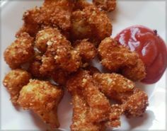 Fried cauliflower - Commenter said: This works really well with chicken nibbles too (buffalo wing pieces). Rinse each chicken piece, pat dry, dip in egg/cream mixture, and coat with the seasoned cheese crumbs. It works best for chicken if you dip it in the cheese to coat instead of shaking it. Instead of frying just bake it in oven for about 45 minutes. They are crispy, yummy, low carb