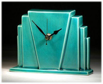 Turquoise art deco clock