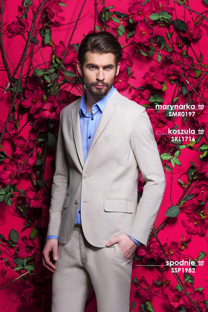 Męski look - jasny #garnitur i błękitna #koszula to modny i ponadczasowy zestaw na wyjątkowe okazje