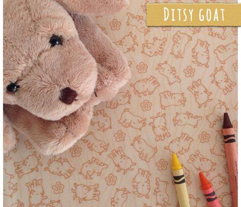 Fabric Pattern: Ditsy Goat printed on Basic Cotton Ultra. Mia Valdez© http://www.spoonflower.com/fabric/3910481 #spoonflower #ditsy #goat #beige #fabric #kids #mia #miavaldez