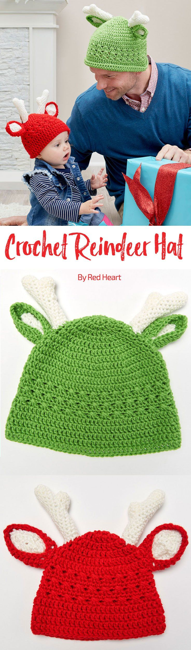 Reindeer Crochet Hats in Super Saver. Crochet a family of reindeer hats for the perfect holiday photo op! We've included five sizes to make it easy to fit everyone. This fun hat design has ears with antlers for the crowning touch.