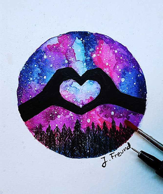 J Freund Galaxie Aquarell Sterne Malen Eule Malen