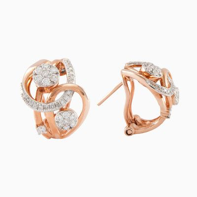 Sophisticated women earrings in 14k rose gold, interdigitated paths with 0.46ct total weight of diamonds. Elegant accessory with a touch of luxury.