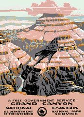 Circa 1938 National Park Service silkscreen Vintage travel poster for Grand Canyon National Park.