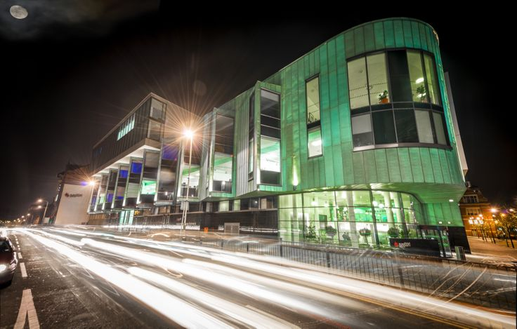 The purpose-built £35m Hugh Aston Building houses DMU's Faculty of Business and Law, home to Leicester Business School and Leicester De Montfort Law School.
