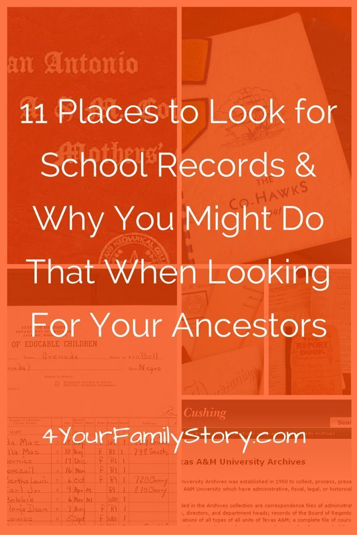11 Places To Look for School Records & Why You Might Want To Do That When Looking for Your Ancestors https://www.4yourfamilystory.com/blog/11-places-to-find-your-ancestors-school-records #genealogy