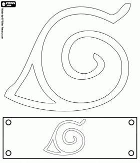desenho de Bandana de Naruto com o sinal da aldeia da folha para colorir