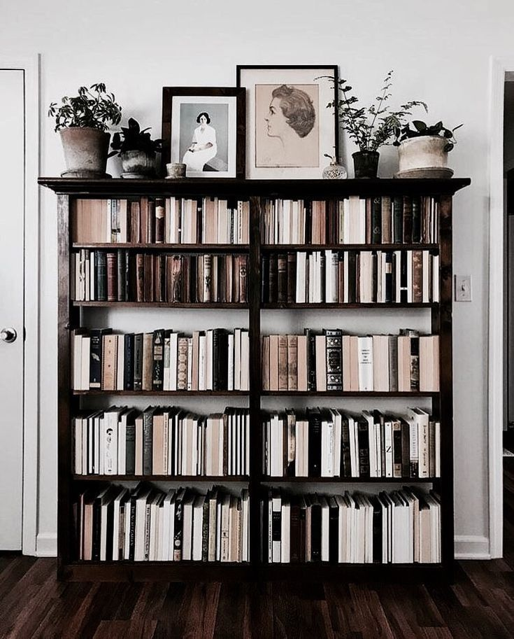 Neutral Bookshelf Topped With Sketches Of Women Along The Top Shelf Neutral Bookshelves Home Decor