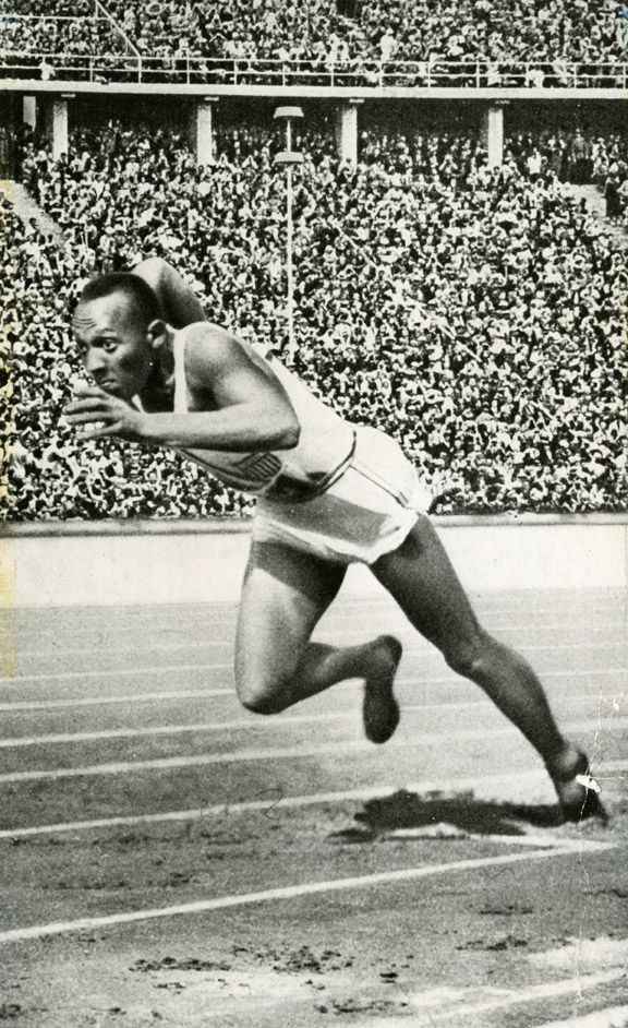 Owens competing in the 200 meter dash at the Berlin Olympics, 1936 attended OSU before Olympics