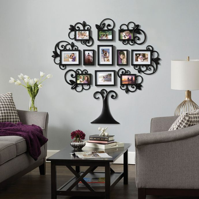 Wallverbs 12 Piece Scroll Tree Photo Frame Set In Black Bed Bath Beyond Frame Wall Collage Frame Wall Decor Family Tree Collage